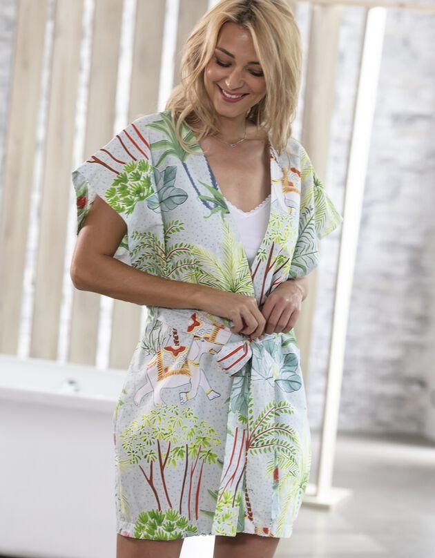 Kimono imprimé manches courtes - collection upcycling, vert, hi-res