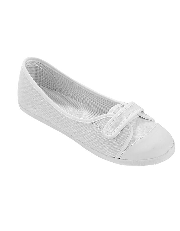Ballerines toile, blanc / blanc, hi-res
