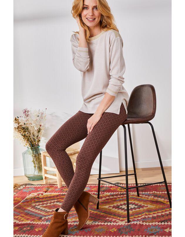 Legging stretch imprimé, chocolat / beige, hi-res