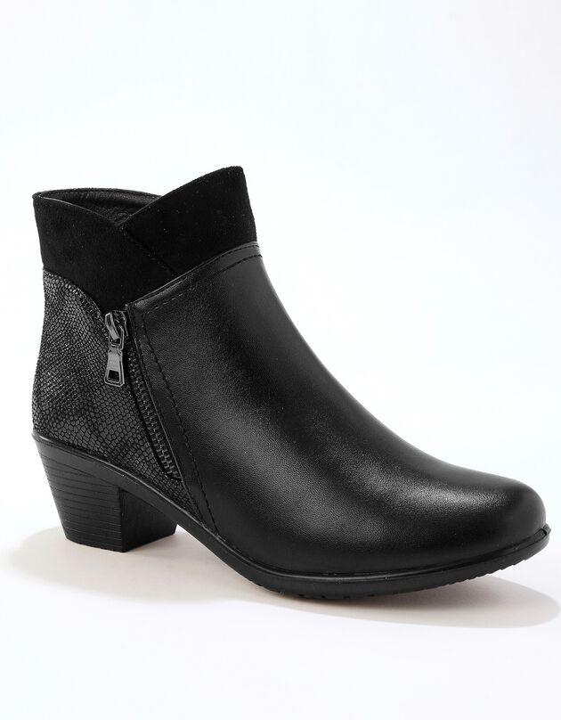 Low-boots bi-matière à talon confort col suédine femme - noir, noir, hi-res