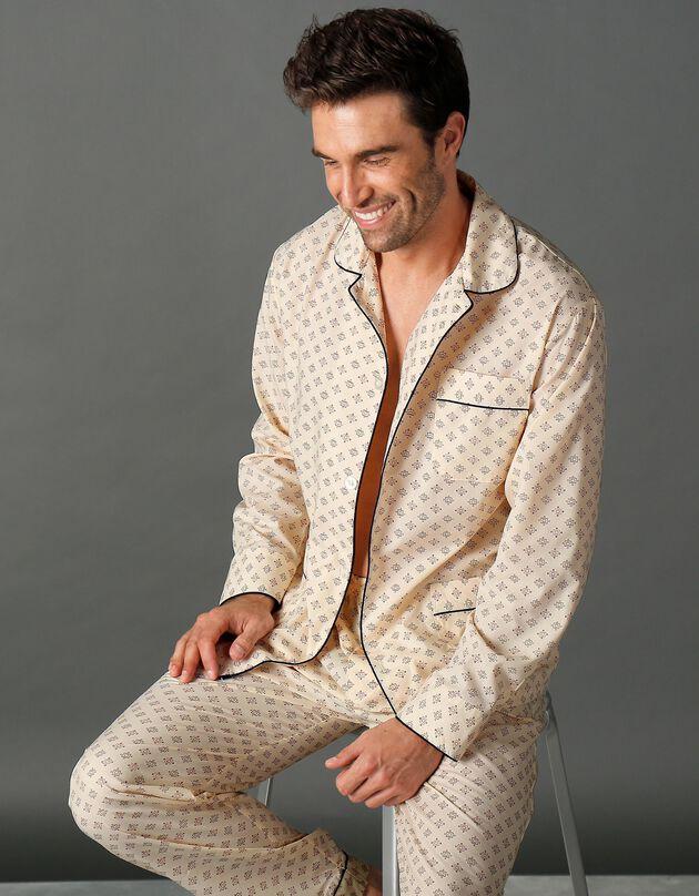 Bedrukte pyjama - popeline van polykatoen, beige, hi-res