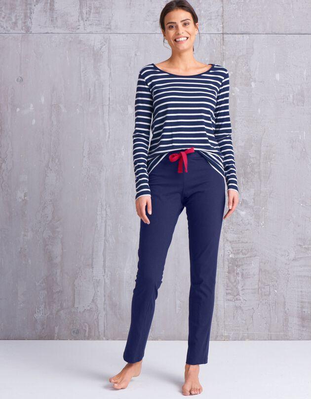 Pantalon pyjama coton uni, marine, hi-res
