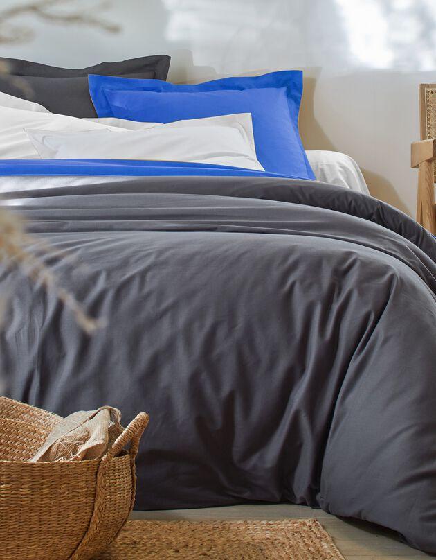 Effen bedlinnen in katoen, CARBONGRIJS, hi-res