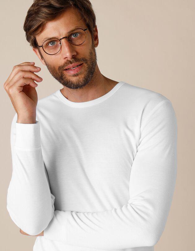 Tee-shirt sous-vêtement homme  col rond manches longues dos long polyester - lot de 2, blanc, hi-res