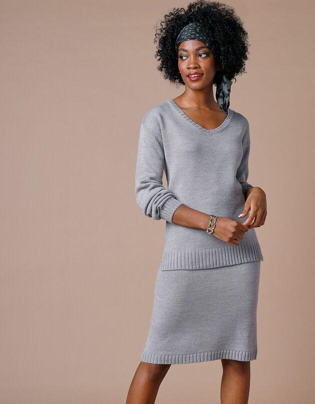Jupe droite en tricot unie - toucher cachemire, gris chiné, hi-res