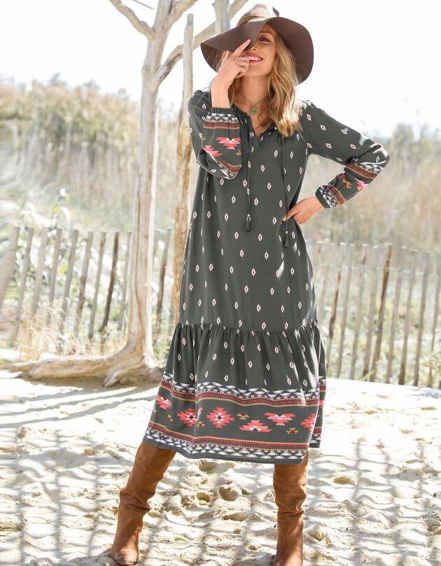 Lange jurk met stroken en folk print, bronskleur / paprika, hi-res