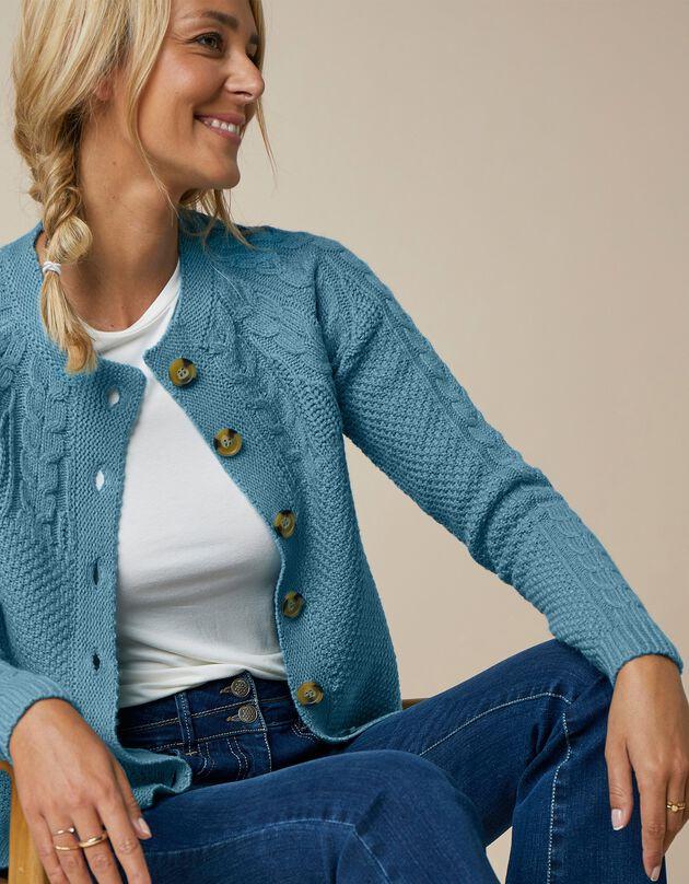 Vest in gerstekorreltricot met kabelmotieven en knopen in hoornstijl, grijsblauw, hi-res