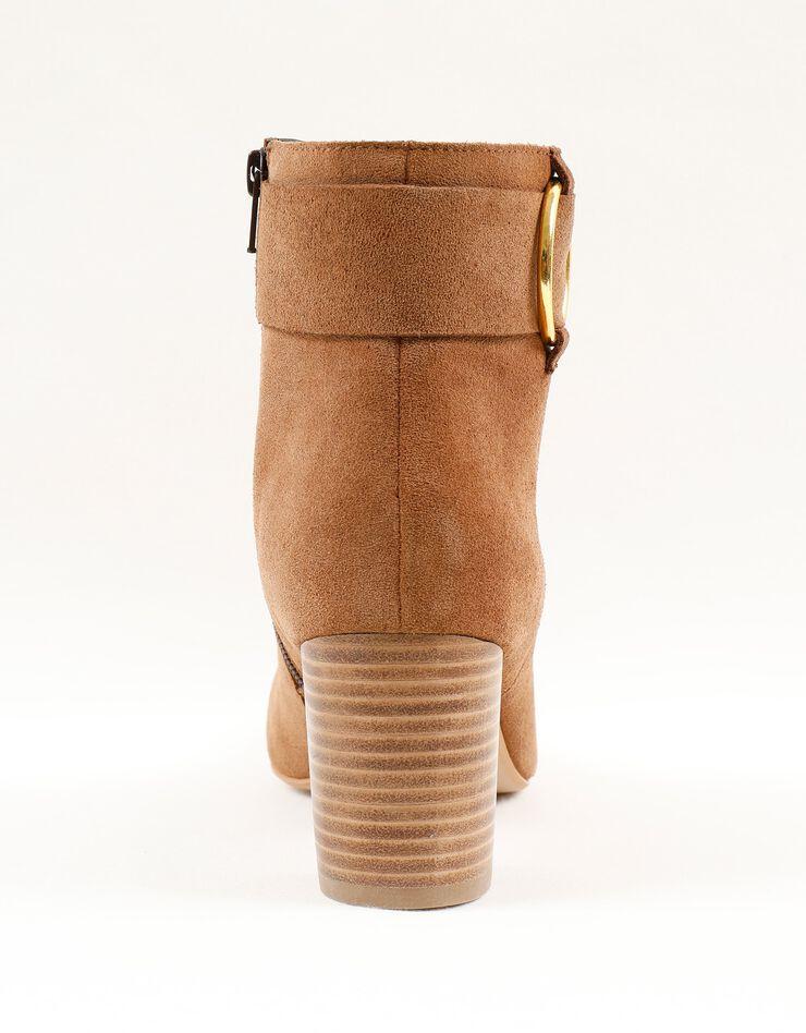 Boots in splitleer met gesp opzij, karamel, hi-res image number 4
