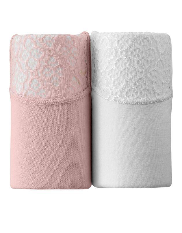 Culotte forme maxi en coton et dentelle - Lot de 2, blanc + poudre, hi-res