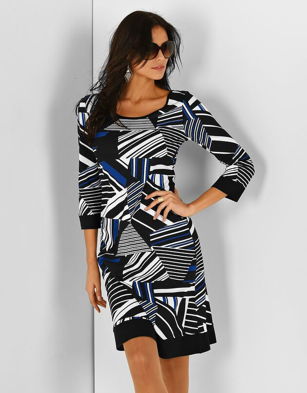 Robe graphique manches 3/4, noir / bleu, hi-res