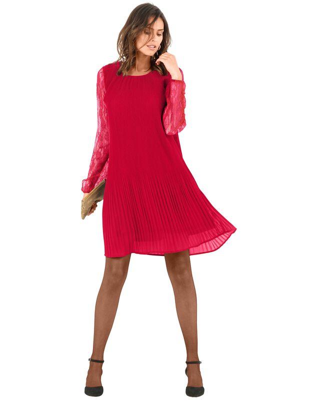 Robe plissée manches dentelle, rouge, hi-res