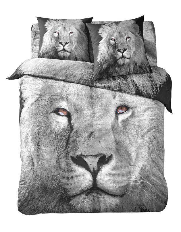 Linge de lit Leo en coton imprimé lion, gris, hi-res