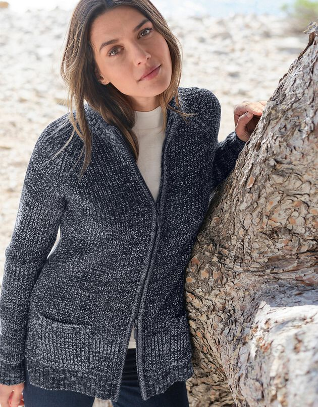 Vest met rits in ribtricot - 30% wol, chiné marine, hi-res