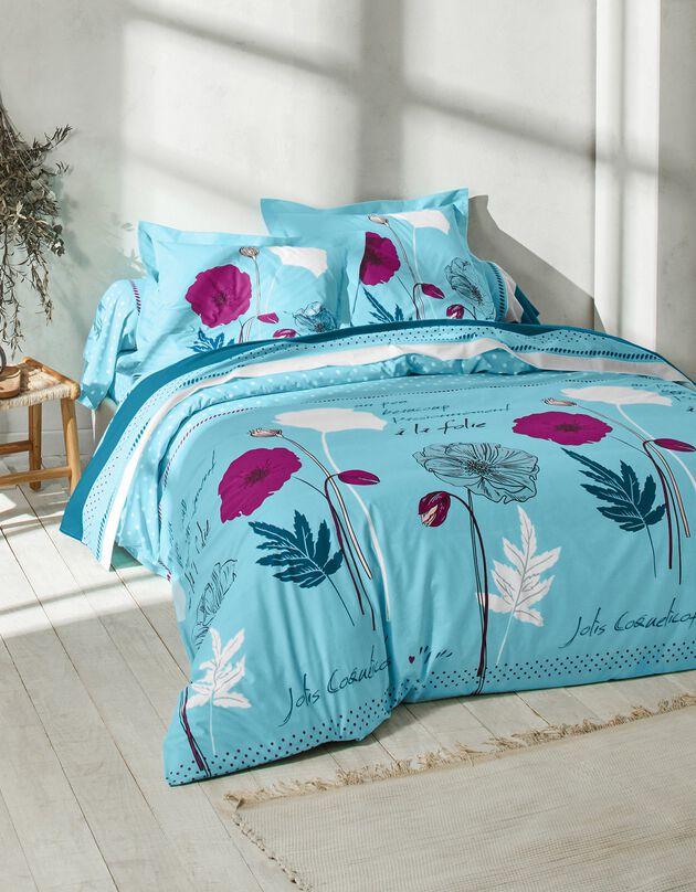 Linge de lit Coquely en coton à motifs coquelicot, bleu, hi-res