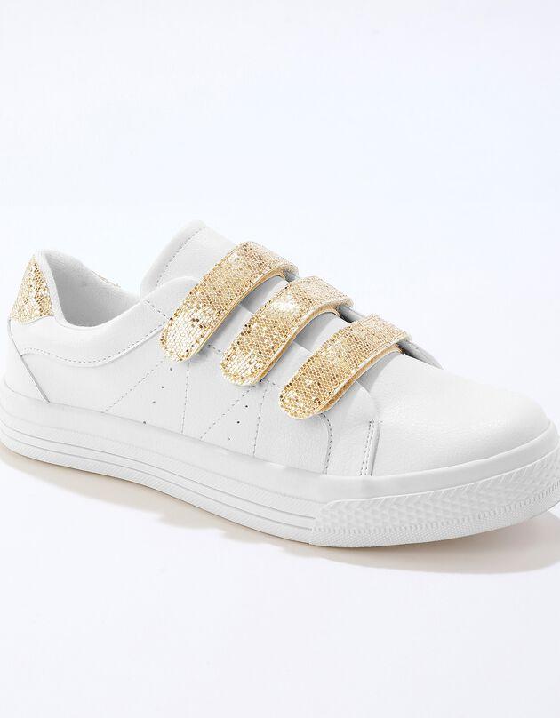 Sneakers voor dames, met scratchsluiting, kroko-effect - wit/goudkleur, wit / goudkleurig, hi-res