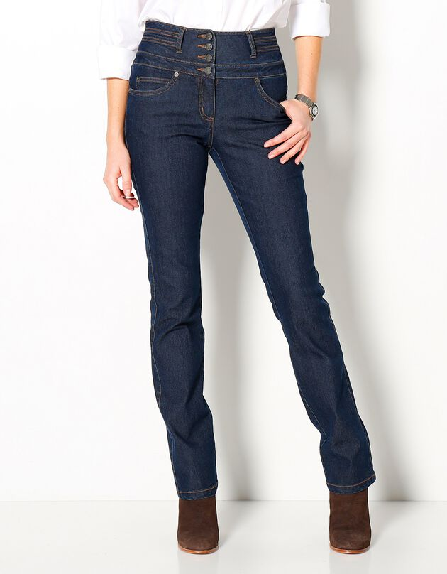 Rechte jeans met hoge taille, dark blue, hi-res