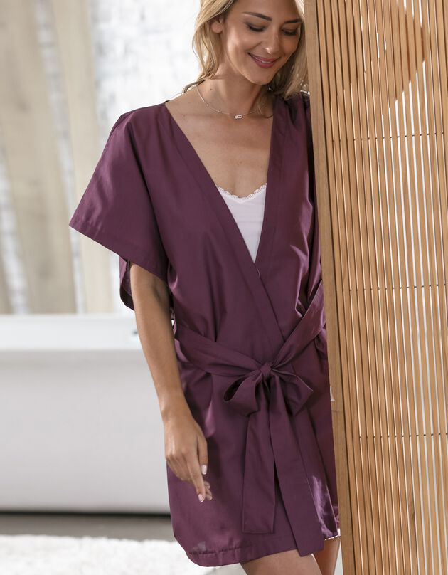 Kimono uni manches courtes - collection upcycling, prune, hi-res