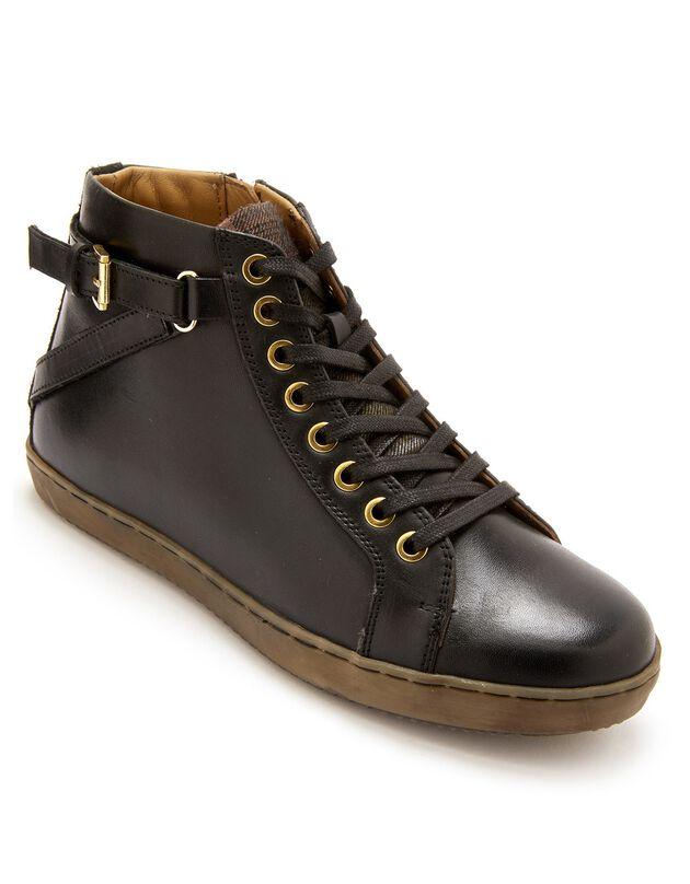 Sneakers met hoge schacht, met rits en vetersluiting, comfortbreedte, in leer - dames, zwart, hi-res