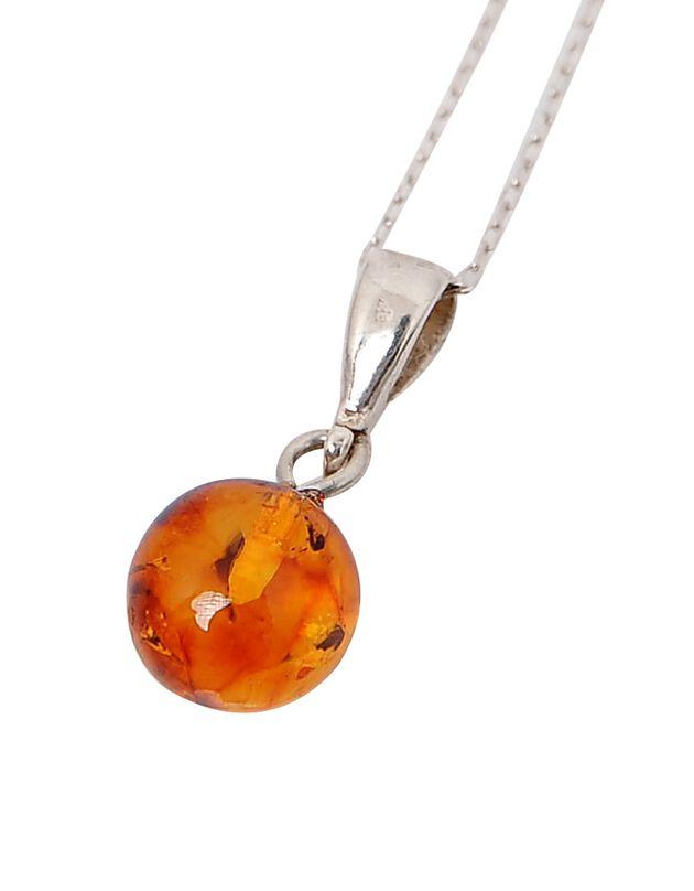 Halssnoer in amber en zilver met hangertje, uniek, hi-res