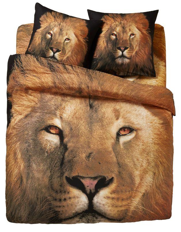 Linge de lit Leo en coton imprimé lion, beige, hi-res