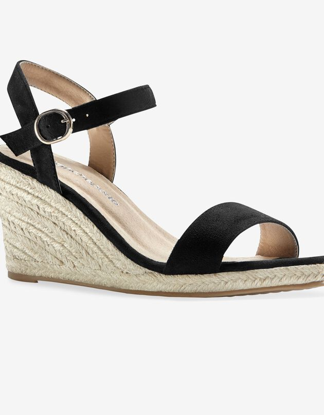 Sandalen met sleehak in koord, zwart, hi-res