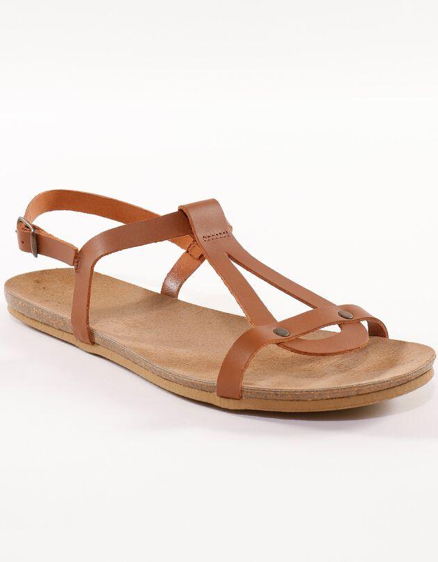 Platte leren sandalen - bruin, bruin, hi-res