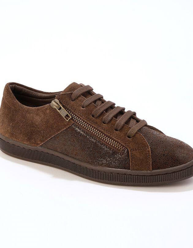 Sneakers in soepel leer met rits en materialeneffect - chocolade, bruin, hi-res