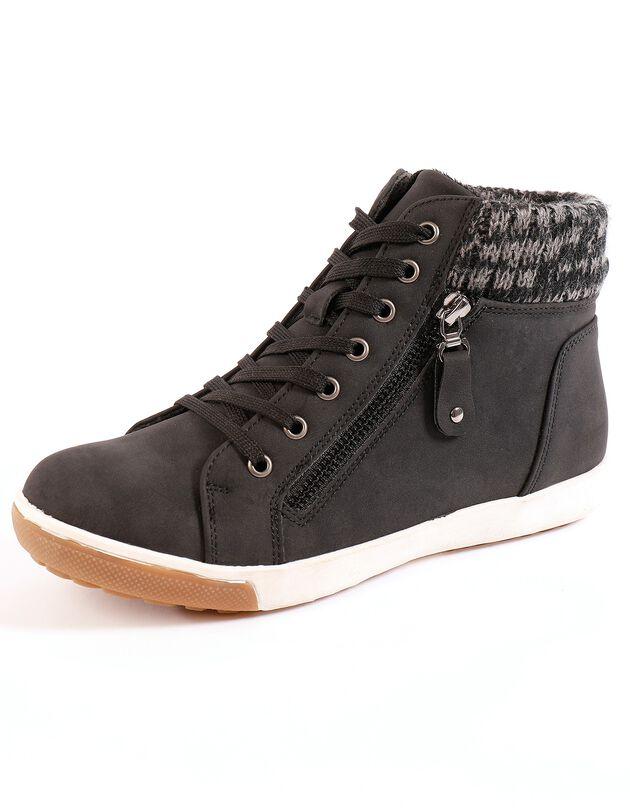 Gevoerde sneakers - zwart, zwart, hi-res