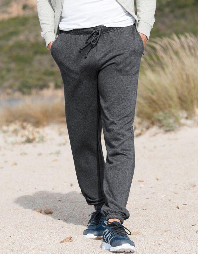 Pantalon jogging molleton bas élastiqué, anthracite, hi-res