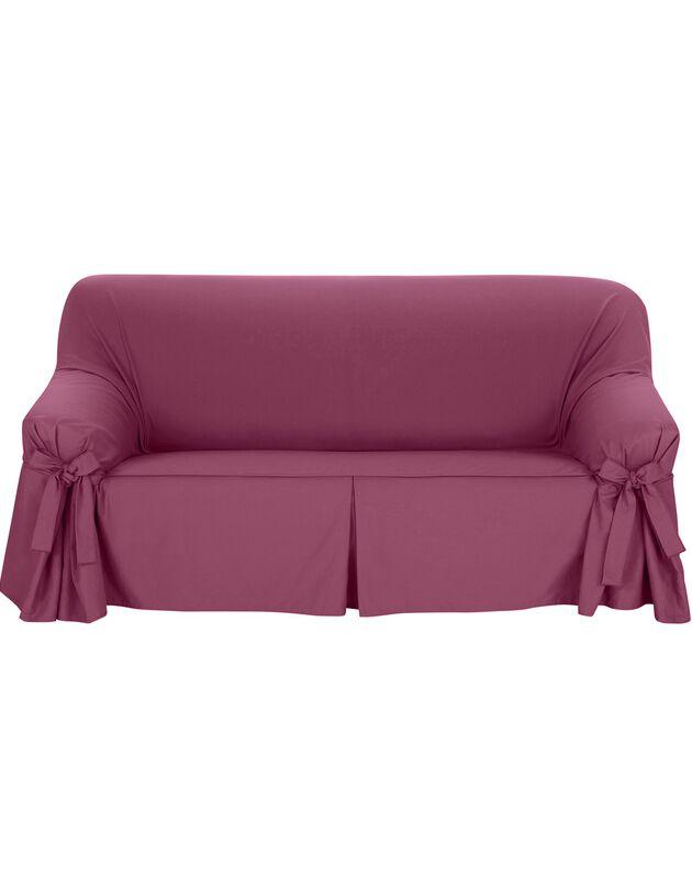 Housse bachette coton uni nouettes fauteuil canapés, figue, hi-res