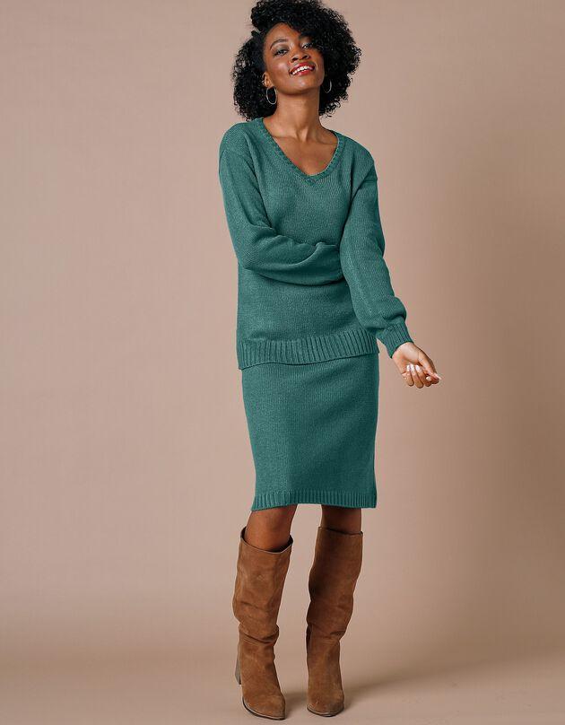 Jupe droite en tricot unie - toucher cachemire, émeraude, hi-res