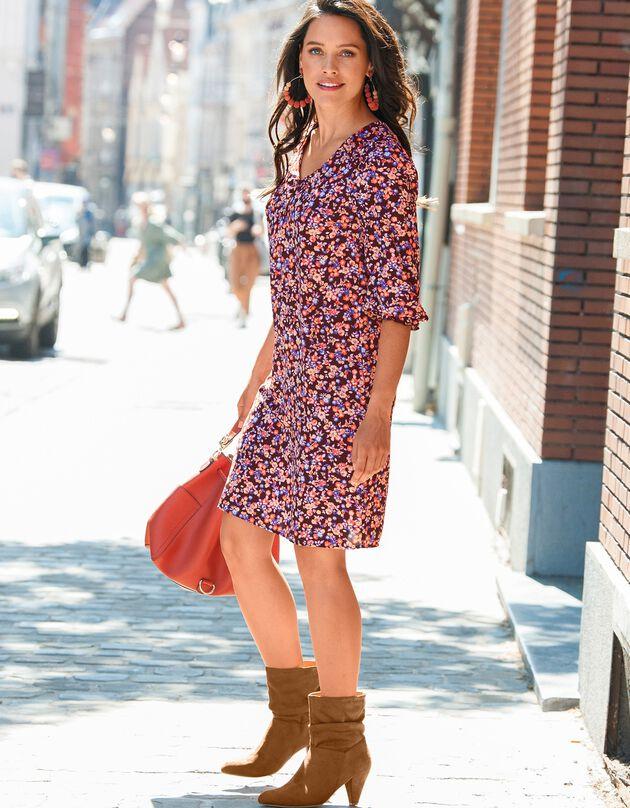 Bedrukte, uitlopende jurk met lange mouwen, chocolade / oranje, hi-res