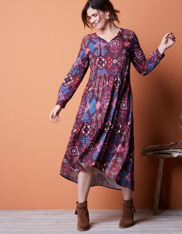 Robe longue imprimé patchwork – manches longues, terracotta / bleu, hi-res