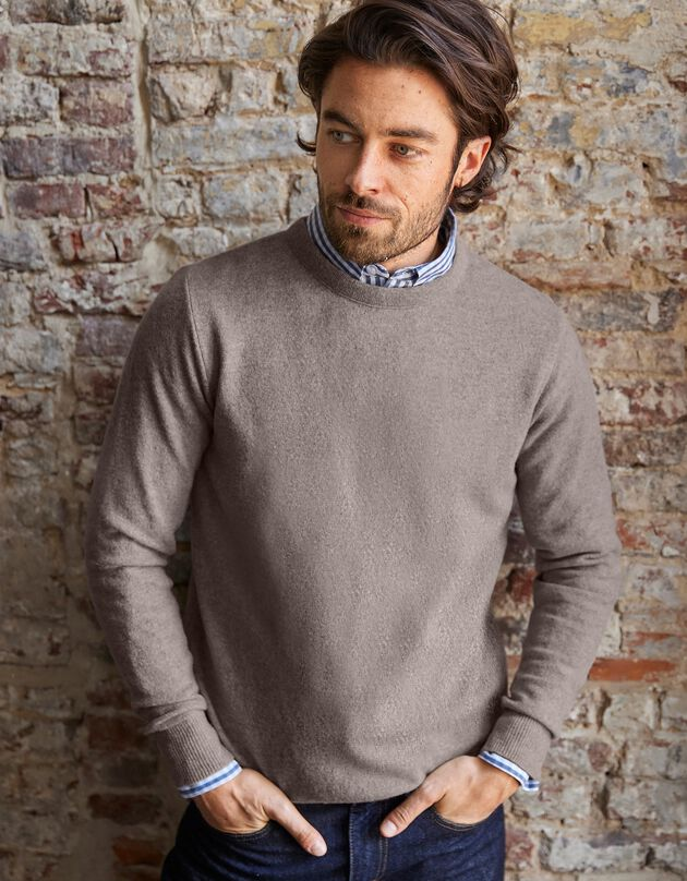 Trui met ronde hals met 80% wol, lichttaupe, hi-res