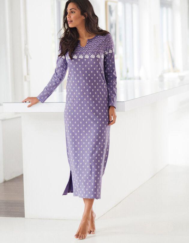 Chemise de nuit manches longues - jersey coton, parme grisé, hi-res