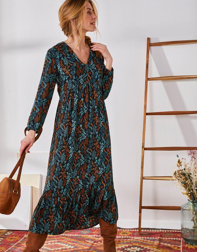 Lange jurk met stroken onderaan in bedrukte twill, zwart / smaragd, hi-res