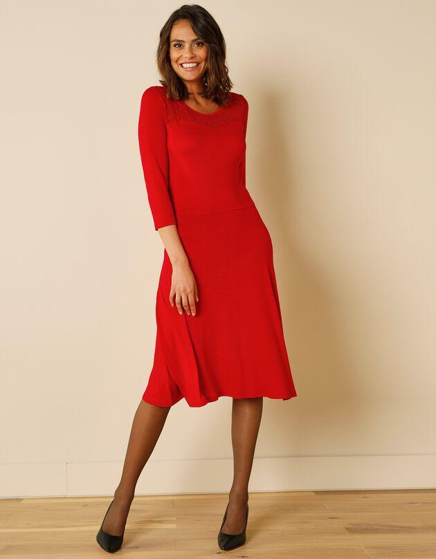 Robe danseuse décolleté plumetis - unie, rouge foncé, hi-res