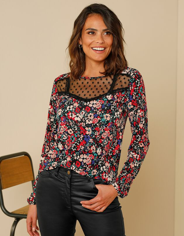 T-shirt met bloemenprint met frontje in plumetis en kant, zwart / rood, hi-res