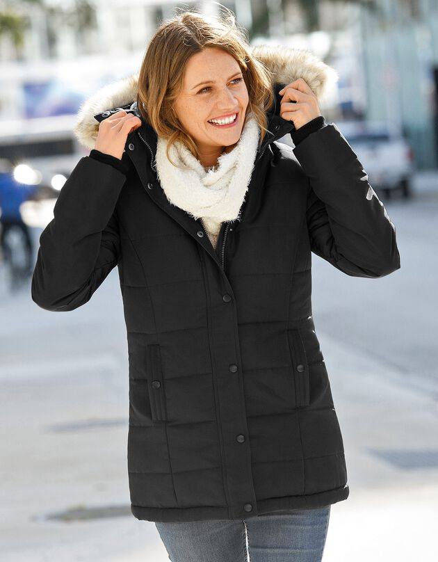 Ondoorlatende gewatteerde jas met kap, zwart, hi-res