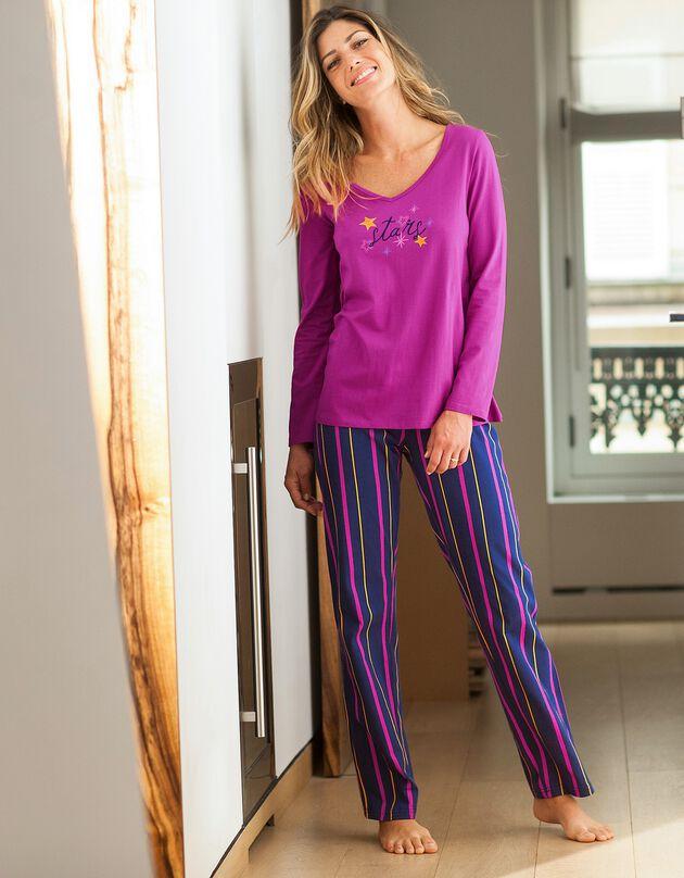 Pyjamashirt met lange mouwen en print Estrella, fuchsia, hi-res