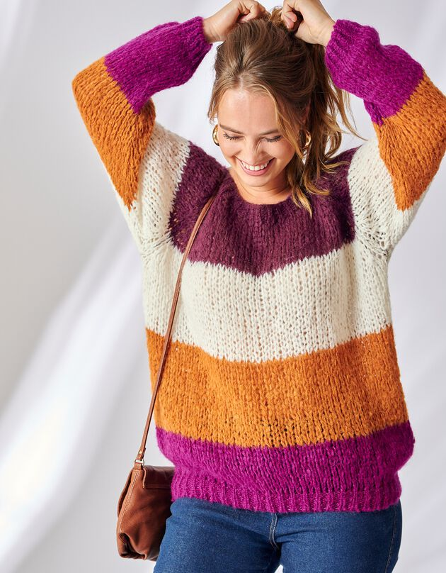 Pull tricot à larges rayures, violine / écru, hi-res