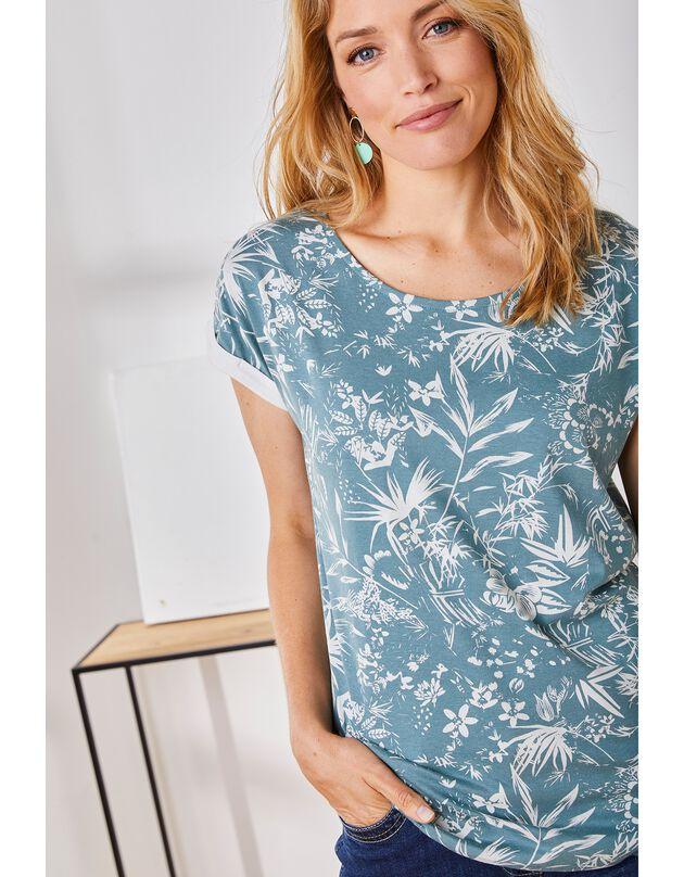 T-shirt met tweekleurige bloemenprint, korte mouwen, ecru / cederhout, hi-res