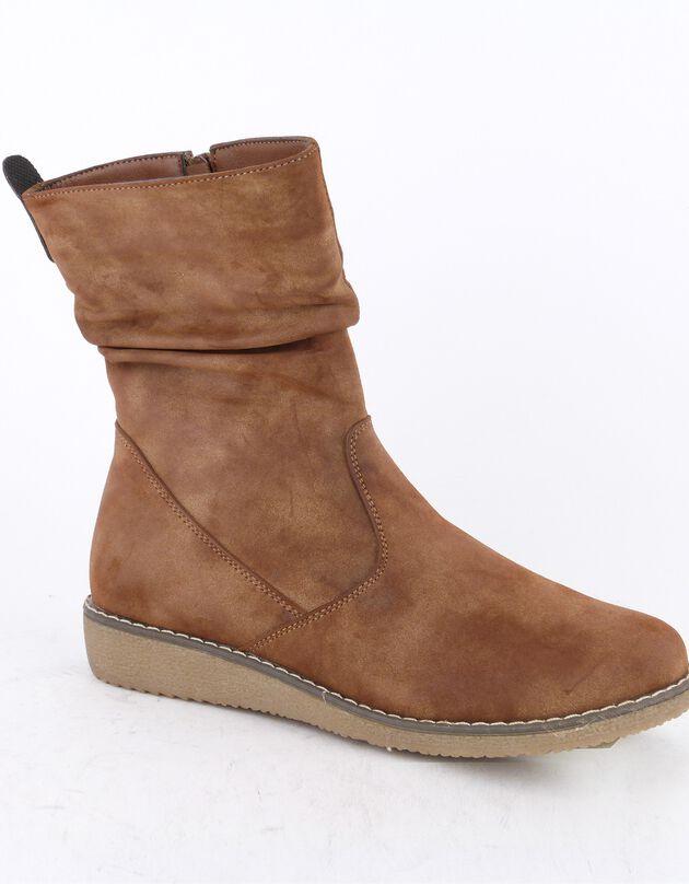 Halfhoge boots met voering en rits, suedine-effect - dames, karamel, hi-res