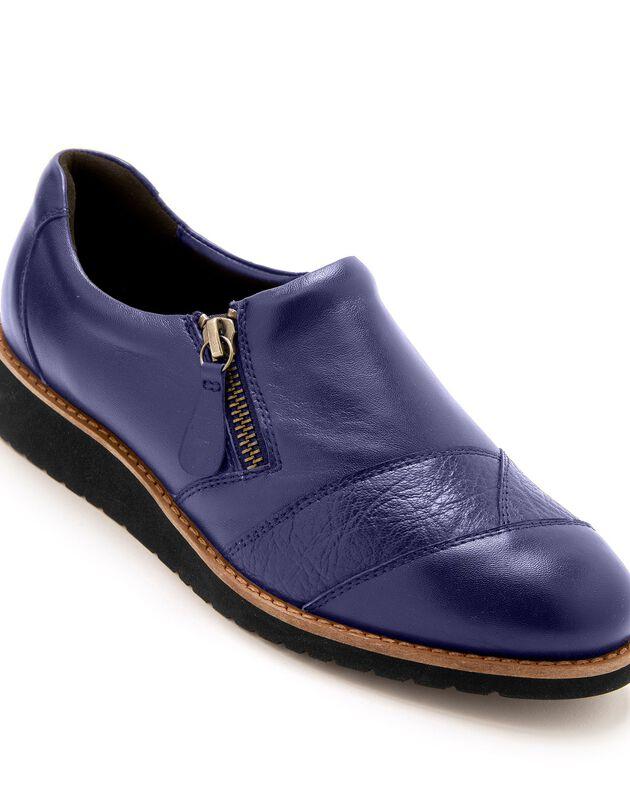 Leren schoenen met sleehak, brede pasvorm - blauw, blauw, hi-res