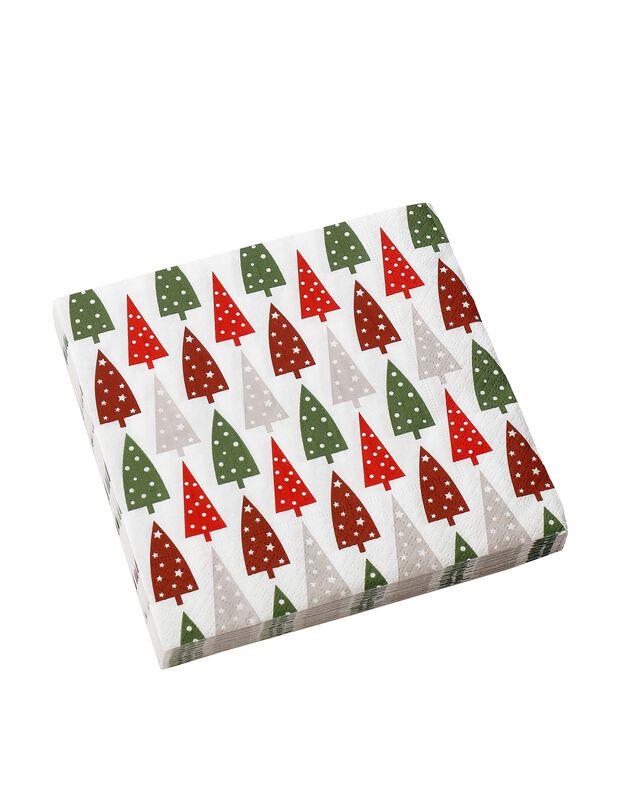 Serviettes en papier sapins multicolores -  lot de 20, multicolore, hi-res