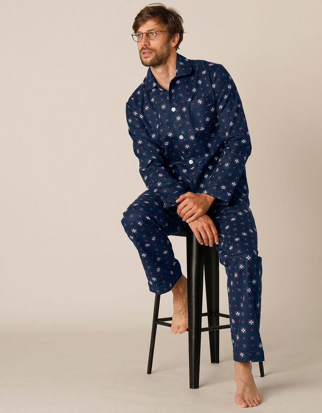 Bedrukte pyjama met knopen, in flanel, marine, hi-res