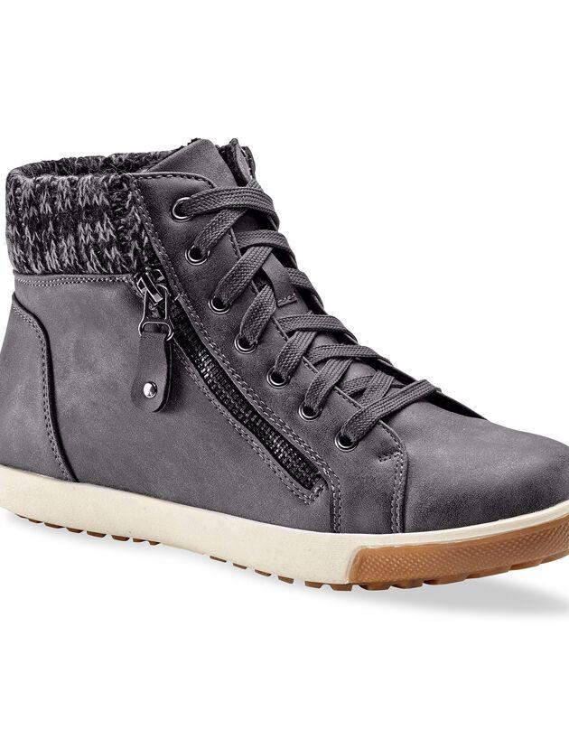 Gevoerde sneakers - grijs, grijs, hi-res
