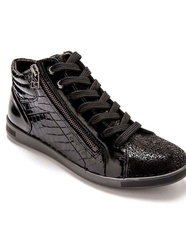 Leren sneakers met hoge schacht en vetersluiting - zwart, zwart, hi-res