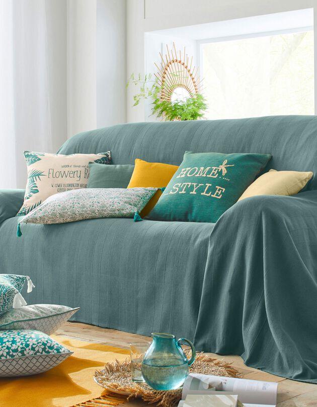 Plaid ou jeté uni coton tissage artisanal, vert grisé, hi-res