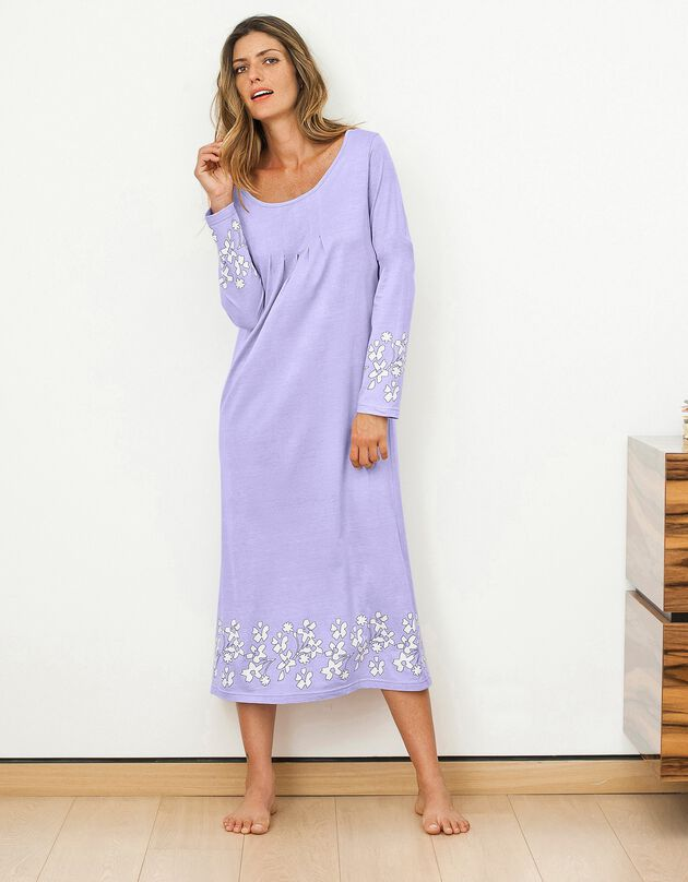 Chemise de nuit imprimée fleurie manches longues, parme, hi-res